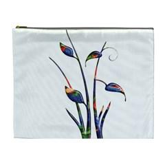 Flora Abstract Scrolls Batik Design Cosmetic Bag (xl)