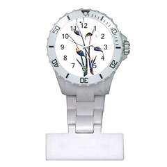 Flora Abstract Scrolls Batik Design Plastic Nurses Watch