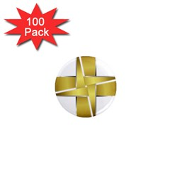 Logo Cross Golden Metal Glossy 1  Mini Magnets (100 Pack)