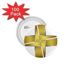 Logo Cross Golden Metal Glossy 1.75  Buttons (100 pack)