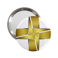 Logo Cross Golden Metal Glossy 2.25  Handbag Mirrors