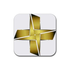 Logo Cross Golden Metal Glossy Rubber Square Coaster (4 pack)