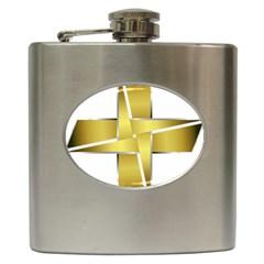 Logo Cross Golden Metal Glossy Hip Flask (6 Oz)