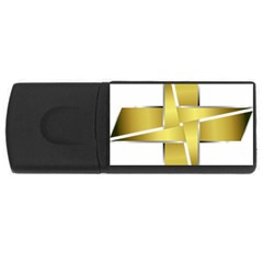Logo Cross Golden Metal Glossy USB Flash Drive Rectangular (2 GB)