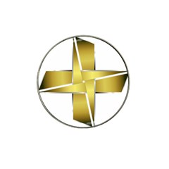 Logo Cross Golden Metal Glossy Hat Clip Ball Marker (10 Pack)