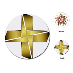 Logo Cross Golden Metal Glossy Playing Cards (round)