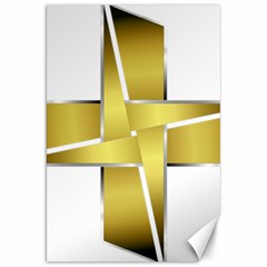 Logo Cross Golden Metal Glossy Canvas 20  X 30