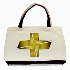 Logo Cross Golden Metal Glossy Basic Tote Bag (Two Sides)