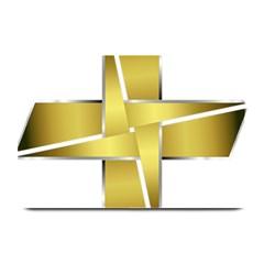 Logo Cross Golden Metal Glossy Plate Mats