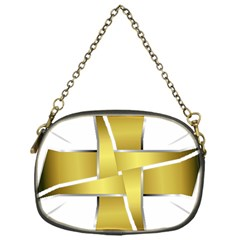 Logo Cross Golden Metal Glossy Chain Purses (one Side)