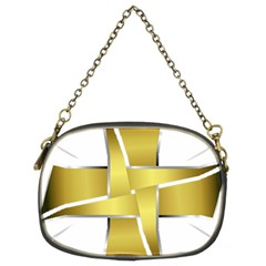 Logo Cross Golden Metal Glossy Chain Purses (two Sides)