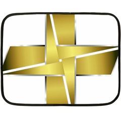 Logo Cross Golden Metal Glossy Fleece Blanket (Mini)