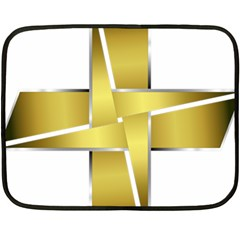 Logo Cross Golden Metal Glossy Double Sided Fleece Blanket (mini)