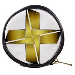 Logo Cross Golden Metal Glossy Mini Makeup Bags