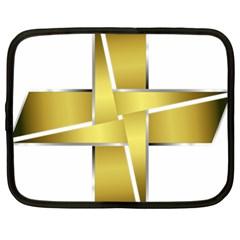 Logo Cross Golden Metal Glossy Netbook Case (xl)