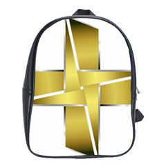 Logo Cross Golden Metal Glossy School Bags(large)