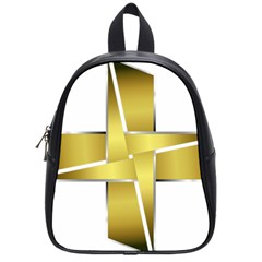 Logo Cross Golden Metal Glossy School Bags (small)