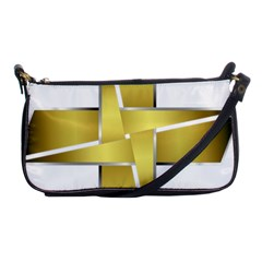 Logo Cross Golden Metal Glossy Shoulder Clutch Bags