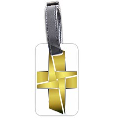 Logo Cross Golden Metal Glossy Luggage Tags (two Sides)