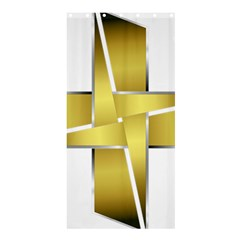Logo Cross Golden Metal Glossy Shower Curtain 36  x 72  (Stall)