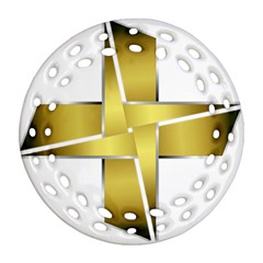 Logo Cross Golden Metal Glossy Ornament (Round Filigree)