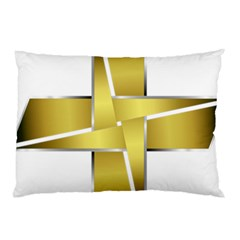 Logo Cross Golden Metal Glossy Pillow Case (two Sides)