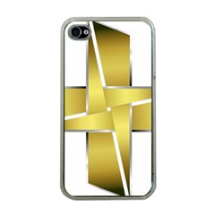 Logo Cross Golden Metal Glossy Apple Iphone 4 Case (clear)