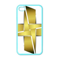 Logo Cross Golden Metal Glossy Apple iPhone 4 Case (Color)
