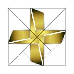 Logo Cross Golden Metal Glossy Acrylic Tangram Puzzle (6  X 6 )