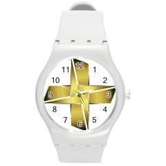 Logo Cross Golden Metal Glossy Round Plastic Sport Watch (m)