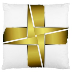 Logo Cross Golden Metal Glossy Large Cushion Case (two Sides)