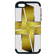 Logo Cross Golden Metal Glossy Apple Iphone 5 Hardshell Case (pc+silicone)