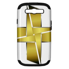 Logo Cross Golden Metal Glossy Samsung Galaxy S Iii Hardshell Case (pc+silicone)
