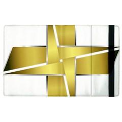 Logo Cross Golden Metal Glossy Apple Ipad 3/4 Flip Case