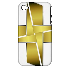 Logo Cross Golden Metal Glossy Apple Iphone 4/4s Hardshell Case (pc+silicone)
