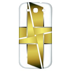 Logo Cross Golden Metal Glossy Samsung Galaxy S3 S Iii Classic Hardshell Back Case