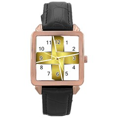 Logo Cross Golden Metal Glossy Rose Gold Leather Watch