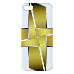 Logo Cross Golden Metal Glossy Apple iPhone 5 Premium Hardshell Case