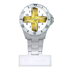 Logo Cross Golden Metal Glossy Plastic Nurses Watch