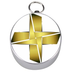 Logo Cross Golden Metal Glossy Silver Compasses
