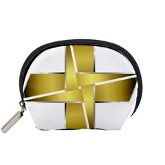 Logo Cross Golden Metal Glossy Accessory Pouches (small)