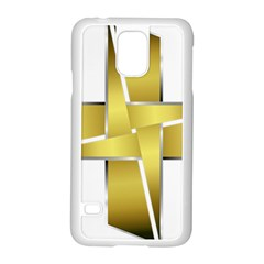 Logo Cross Golden Metal Glossy Samsung Galaxy S5 Case (white)