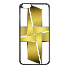 Logo Cross Golden Metal Glossy Apple Iphone 6 Plus/6s Plus Black Enamel Case