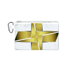 Logo Cross Golden Metal Glossy Canvas Cosmetic Bag (s)