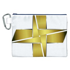 Logo Cross Golden Metal Glossy Canvas Cosmetic Bag (XXL)