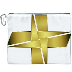 Logo Cross Golden Metal Glossy Canvas Cosmetic Bag (xxxl)