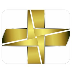 Logo Cross Golden Metal Glossy Double Sided Flano Blanket (Medium)