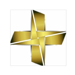Logo Cross Golden Metal Glossy Small Satin Scarf (square)