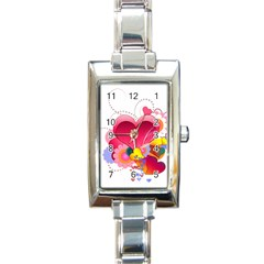 Heart Red Love Valentine S Day Rectangle Italian Charm Watch
