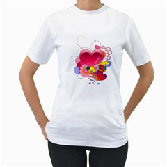 Heart Red Love Valentine S Day Women s T-Shirt (White) (Two Sided)
